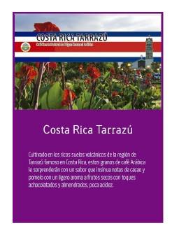 Costa Rica Tarrazu 18 en grano Doypack 250g
