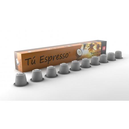 Tropicco: Cápsulas Cafe sabor coco. Estuche 10 cápsulas